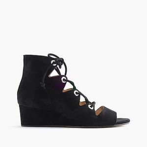 J. Crew Laila Lace-Up Wedge in Suede